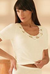 SangoraSchurwolle/ModalT-Shirt, Spitzenausschnitt