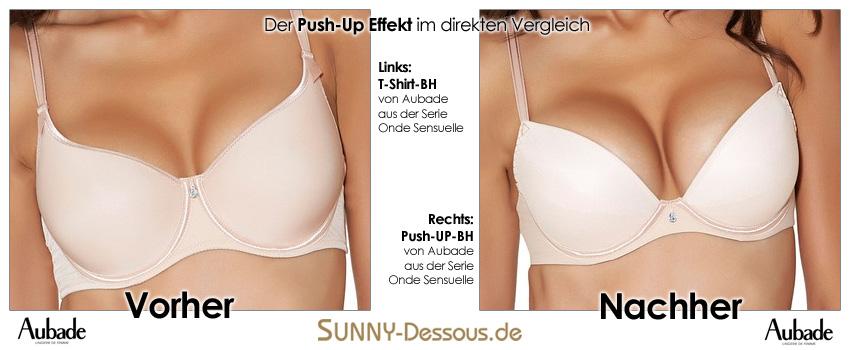 Vorher Nachher Vergleich zwischen T-Shirt-BH und Push-Up von Aubade
