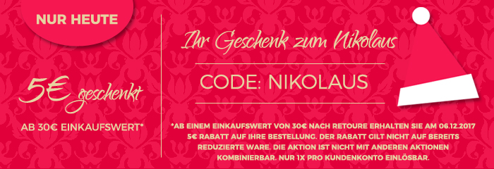 5 Euro zum Nikolaus geschenkt ab 30 Euro Einkaufswert