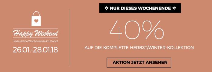 Happy Weekend Aktion - 40 Prozent auf die H/W Ware