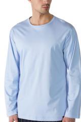 Mey Herrenwäsche Shirt langarm, Rundhals, Blau, ArtikelNr 20440