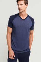 Jockey T-Shirt, V-Ausschnitt, Blau, ArtikelNr 500731H