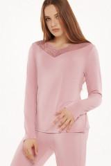 Lisca Pyjama-Top, langarm, Rosa, ArtikelNr 23324