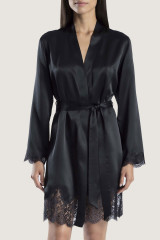 Aubade Kimono uni, Schwarz, ArtikelNr QS65