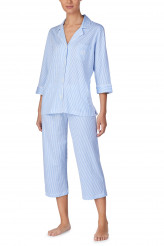 Lauren Ralph Lauren Knits Nightwear Notch Collar Capri Pyjama