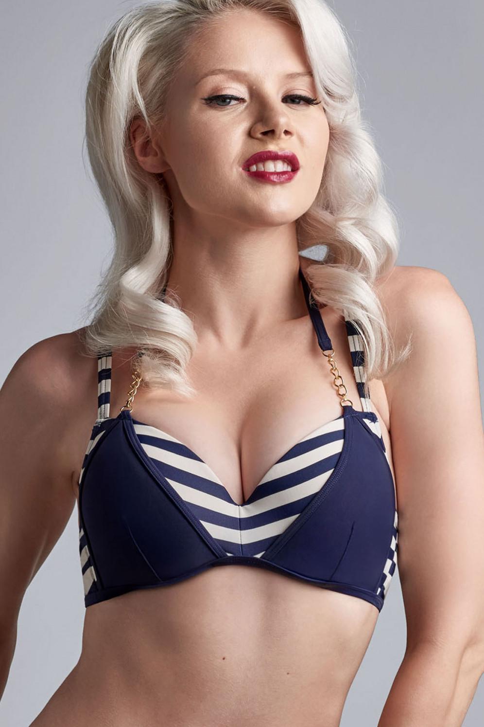34 Cup B Blau Maritimes Bandeau Bikini Oberteil Gr